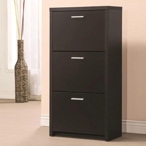 3 Shelf Shoe Organizer Storage Cabinet Drawers Wooden Rack