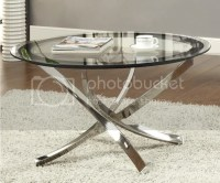 Nickel Round Tempered Glass Top Chrome Legs Cocktail ...