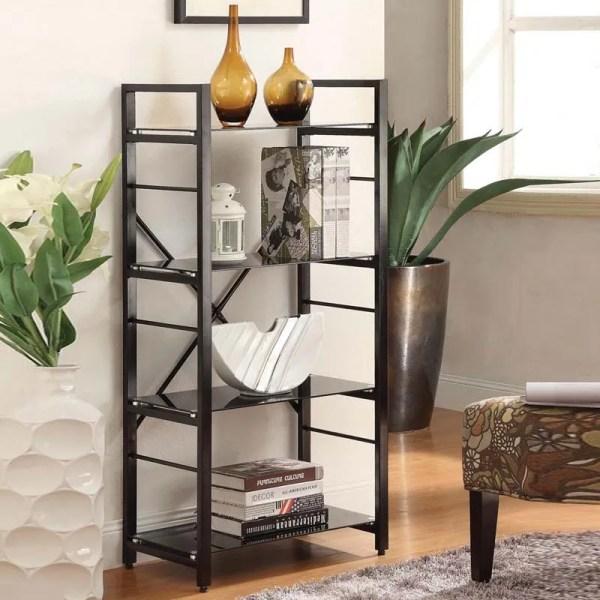 Bookshelf Modern 4 Glass Shelves Linear Black White Powder