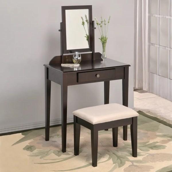 White Espresso Brown Large Swivel Square Mirror Bedroom