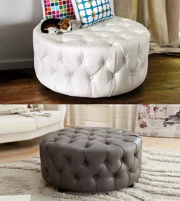 White Leather Tufted Round Ottoman