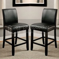 Set of 2 Counter Height Dining Chairs Leatherette Parson