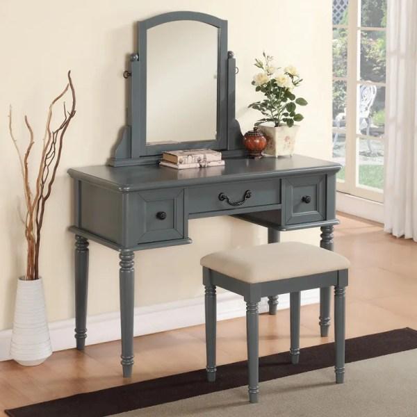 Grey Makeup Vanity Table