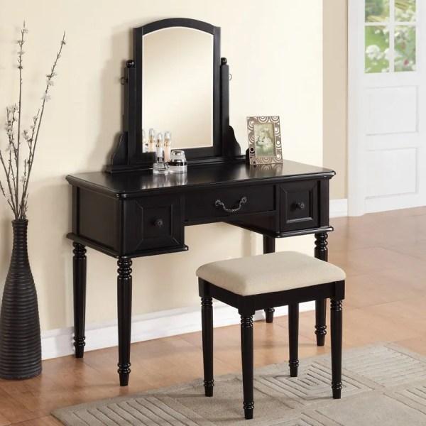 Black Makeup Vanity Table with Drawers