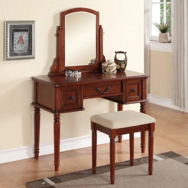 Cherry Makeup Vanity Table with Mirror