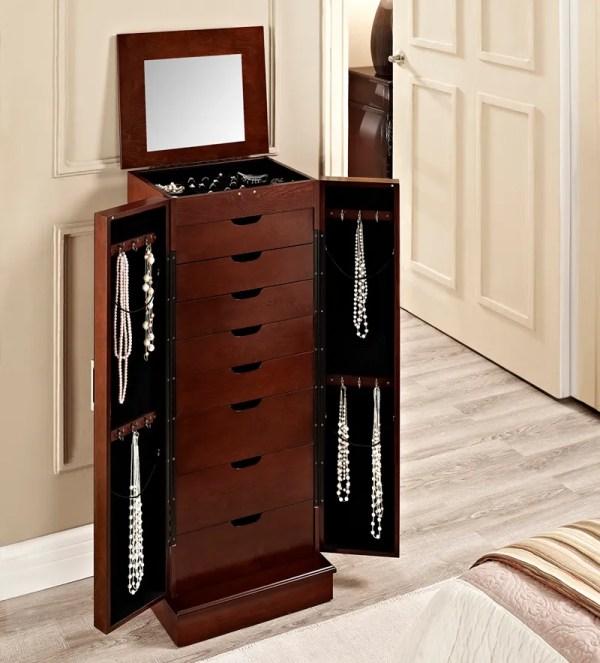 Cherry Modern Mirrored Doors 8 Drawers Powell Wooden