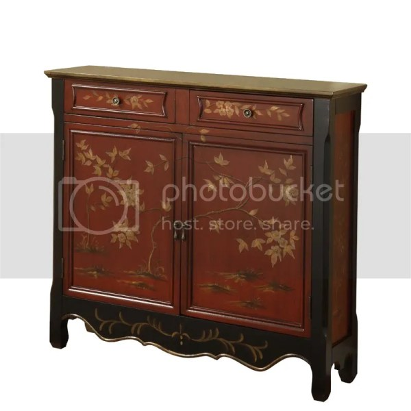 Powell Antique Red Oriental Asian Two Door Storage Console