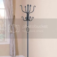 Contemporary Flourish Pedestal Base Black Metal Coat Hat ...