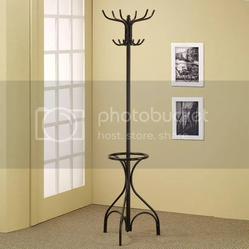 Black Metal Coat Hat Rack Hall Tree Hanger with Round