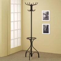 Black Metal Coat Hat Rack Hall Tree Hanger with Round