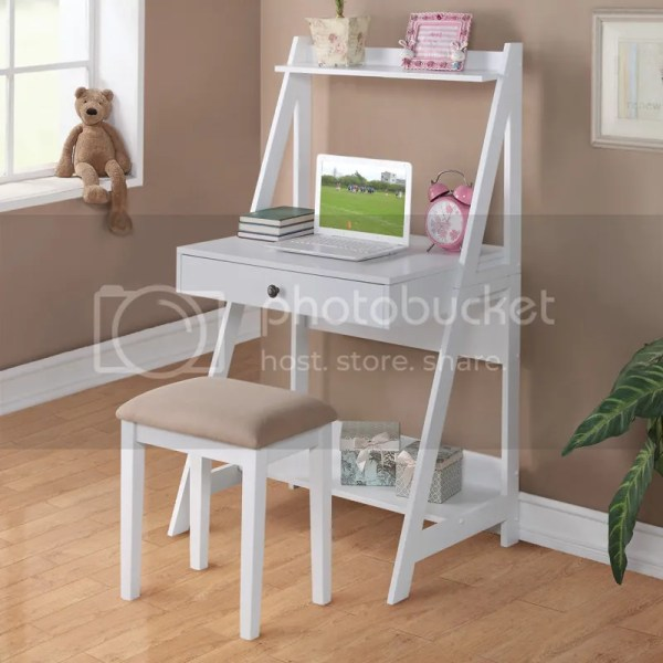 Small White Writing Desk with Drawers