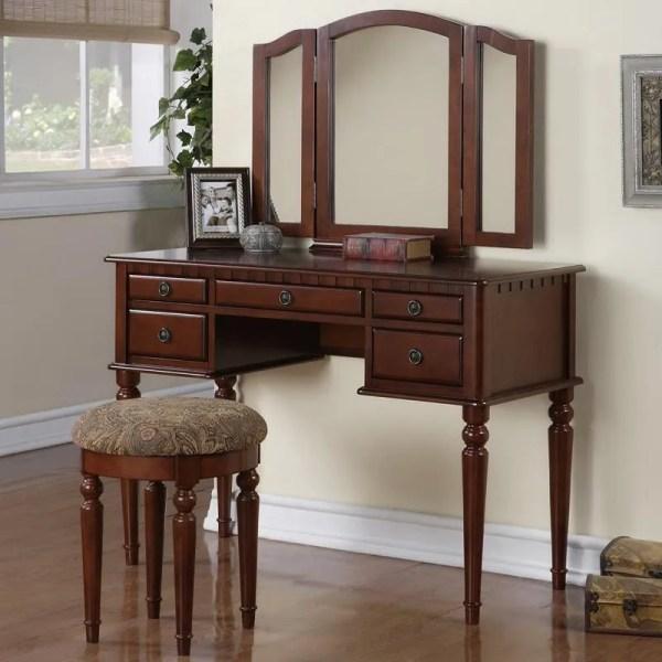 Tri Folding Mirror Cherry Wood Stool 5 Drawers Vanity Set