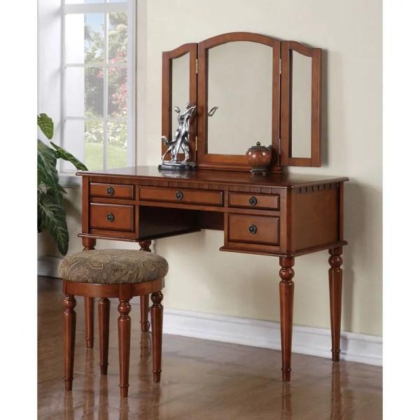 Wood Makeup Vanity Dresser with Mirror