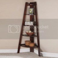 Walnut White 5 Tier Corner Shelf Bookcase Bookshelf