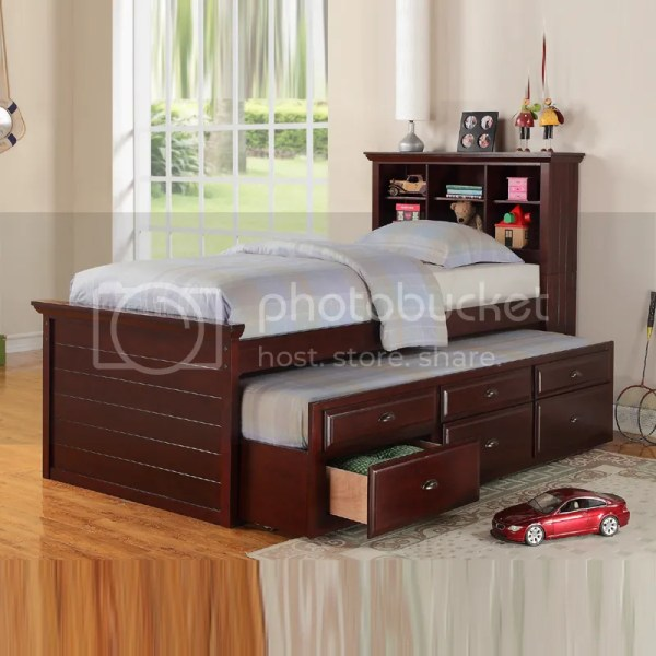 Cottage Youth Kids Bookcase Cherry Black Trundle Drawers Twin Captain Bed Daybed | eBay