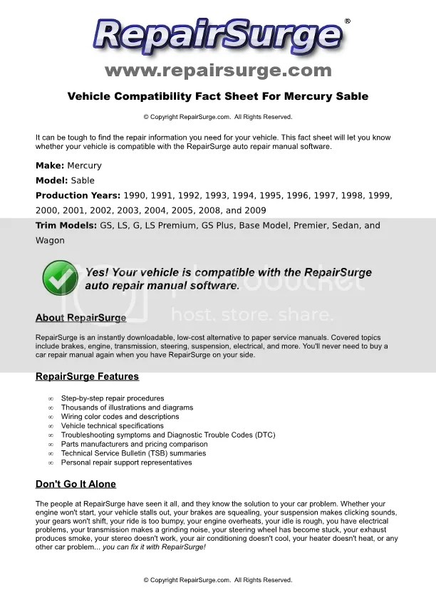 1999 mercury sable service repair manual software
