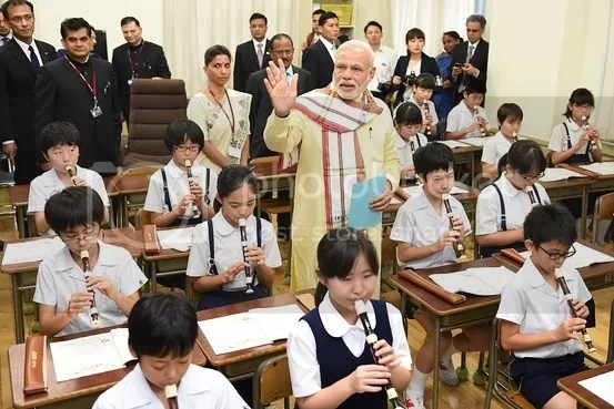Mr. Modi visits a music class in Taimei elementary school in Tokyo on September 1, 2014