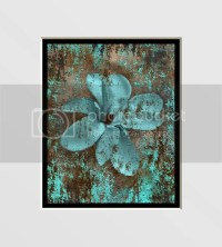 Abstract Brown Aqua Flower Home Decor Wall Art Matted Picture