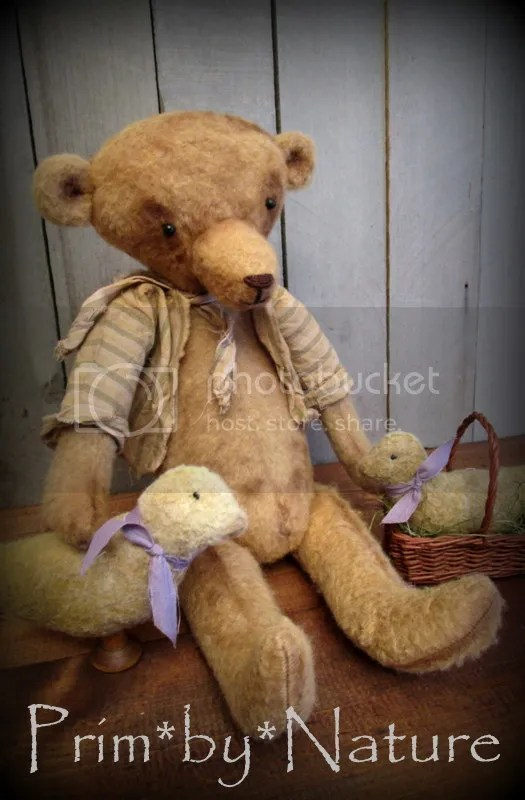 Primitive Easter Teddy Bear Bunny Rabbit Doll