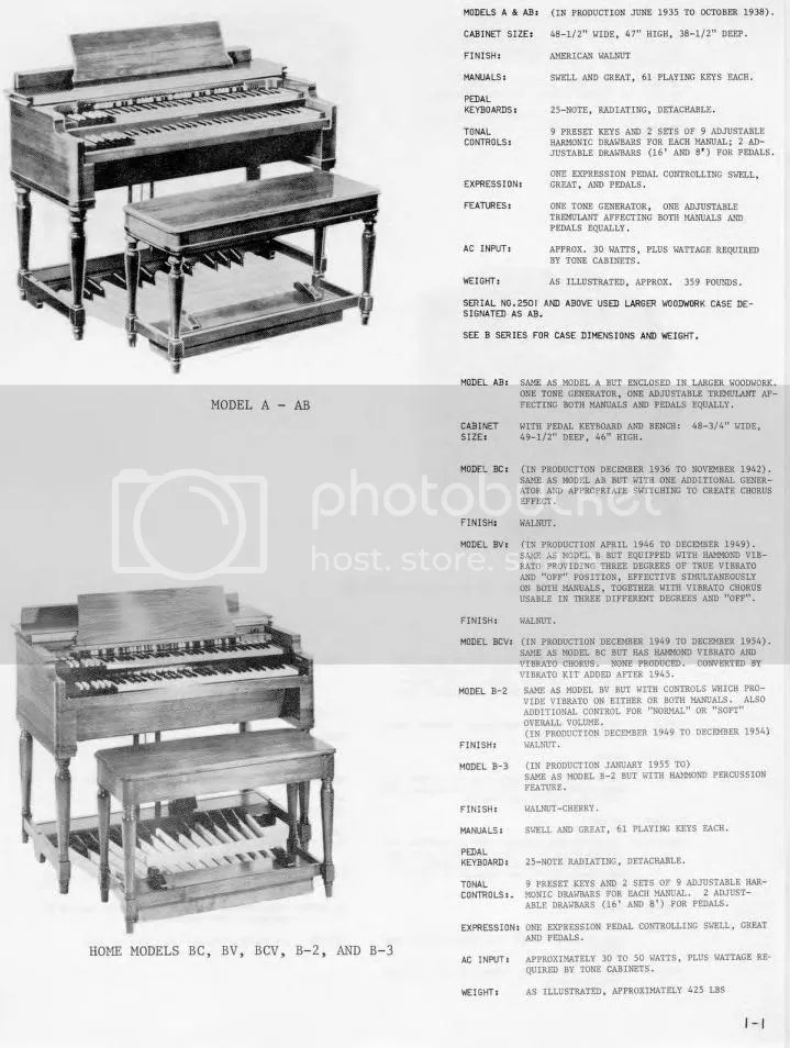 Hammond Organ un manuale di servizio A-100 AB BA BC  BV