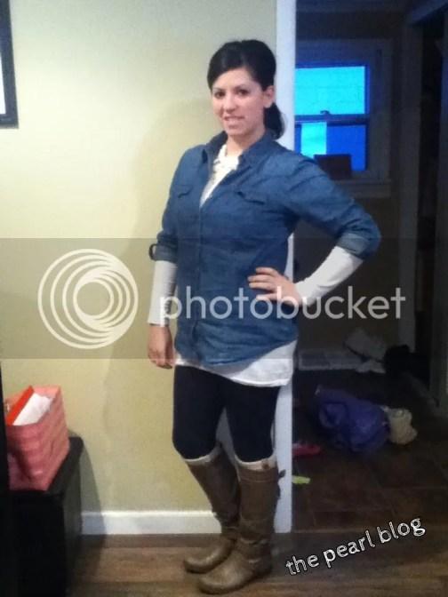 chambray shirt leggings