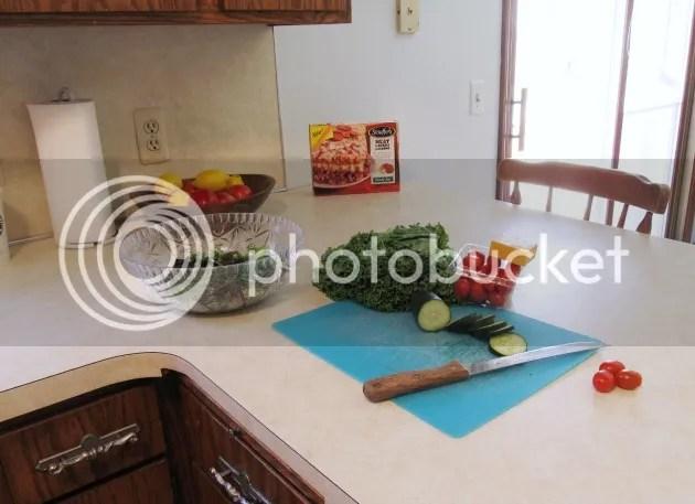 prepping dinner salad