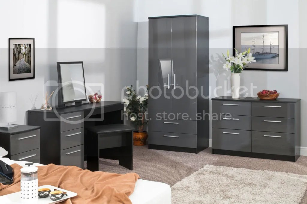 BEDROOM FURNITURE SETS HIGH GLOSS GREY ON BLACK WARDROBE