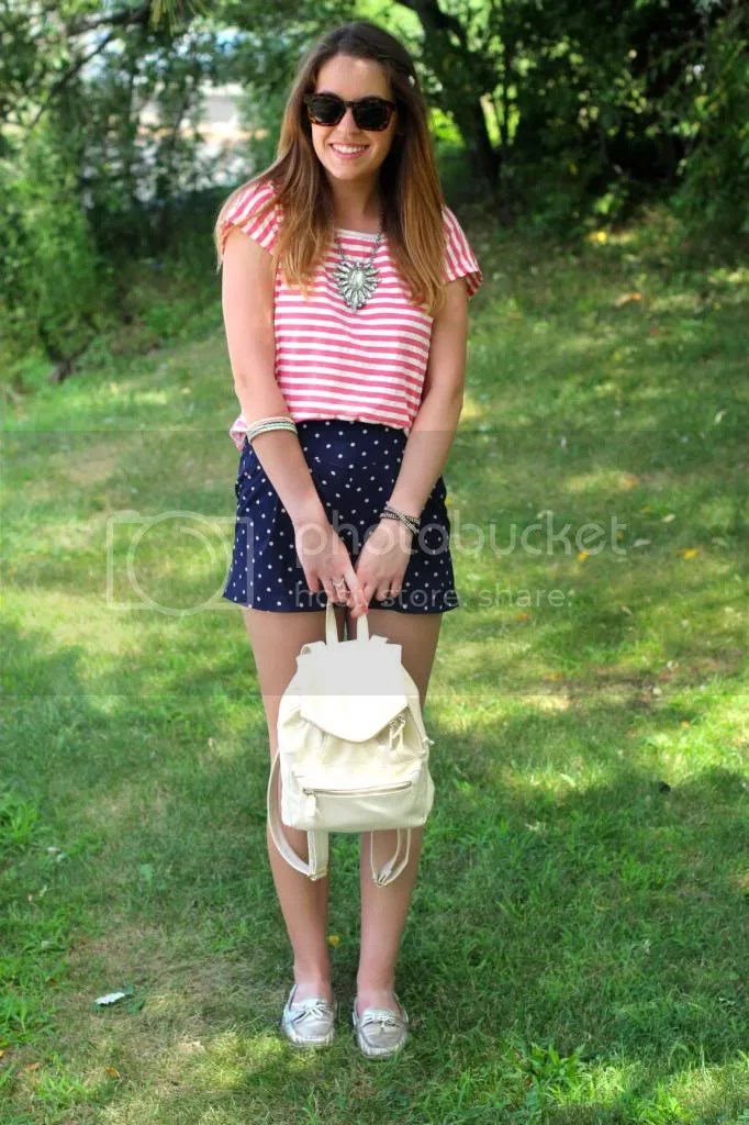 style tab, fashion blogger, boston blogger, how to mix prints, ways to mix stripes and polka dots, polka dot shorts, summer, outfit