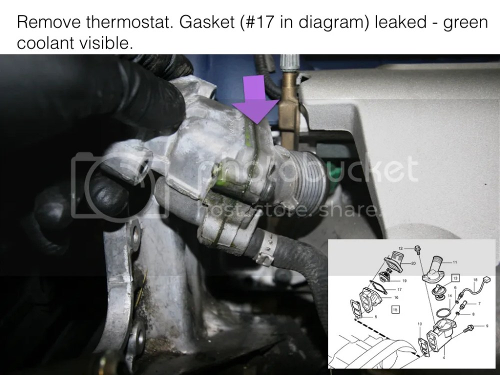 medium resolution of no evidence of leak between thermostat and engine block