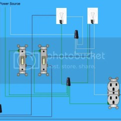 Electrical Light Wiring Diagram Eye Continuing Power Through Two Switches Doityourself Com
