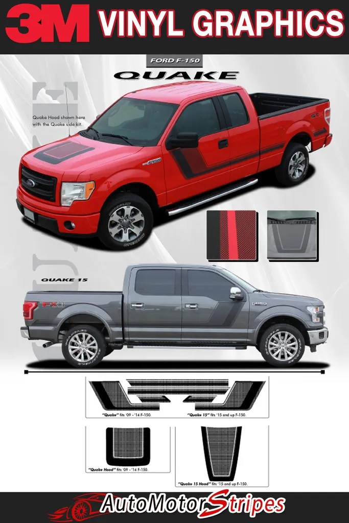 Factory Crafts Ford F-350 2017 Blackout Hood Graphics 3M Vinyl Decal Wrap Kit Matte Black