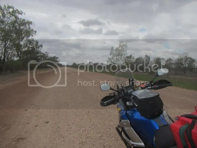 Motorcycle on gravel road