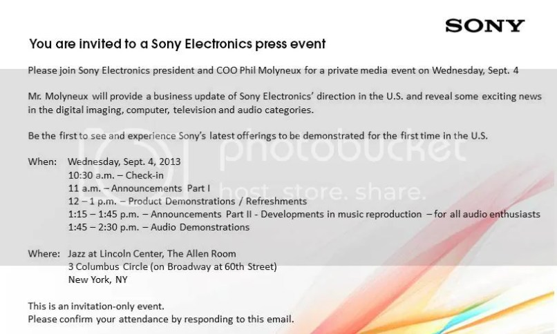 Product launch invitation email newsinvitation letter format for new product launch refrence invitation source sony sends out invitations for a september 4 event honami and qx stopboris Choice Image