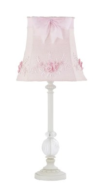 Kids Girls White Table Lamp Glass Pink Shade Nursery ...