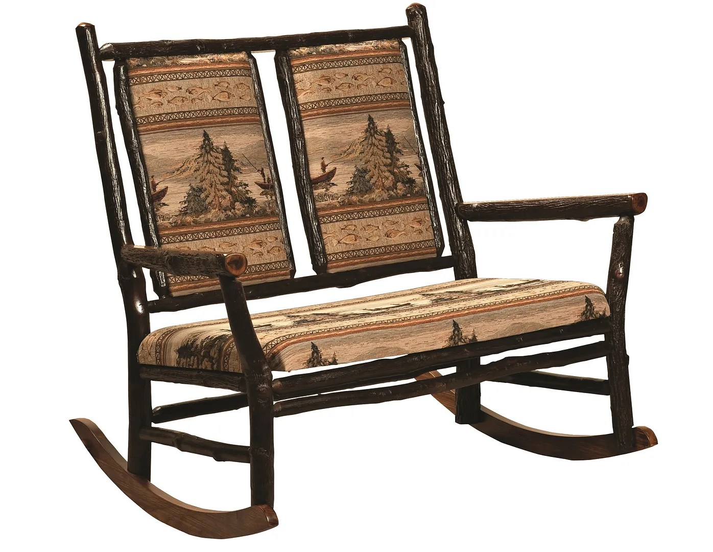 Double Rocking Chair Amish Hickory Log Grandpa Double Rocker Rocking Chair