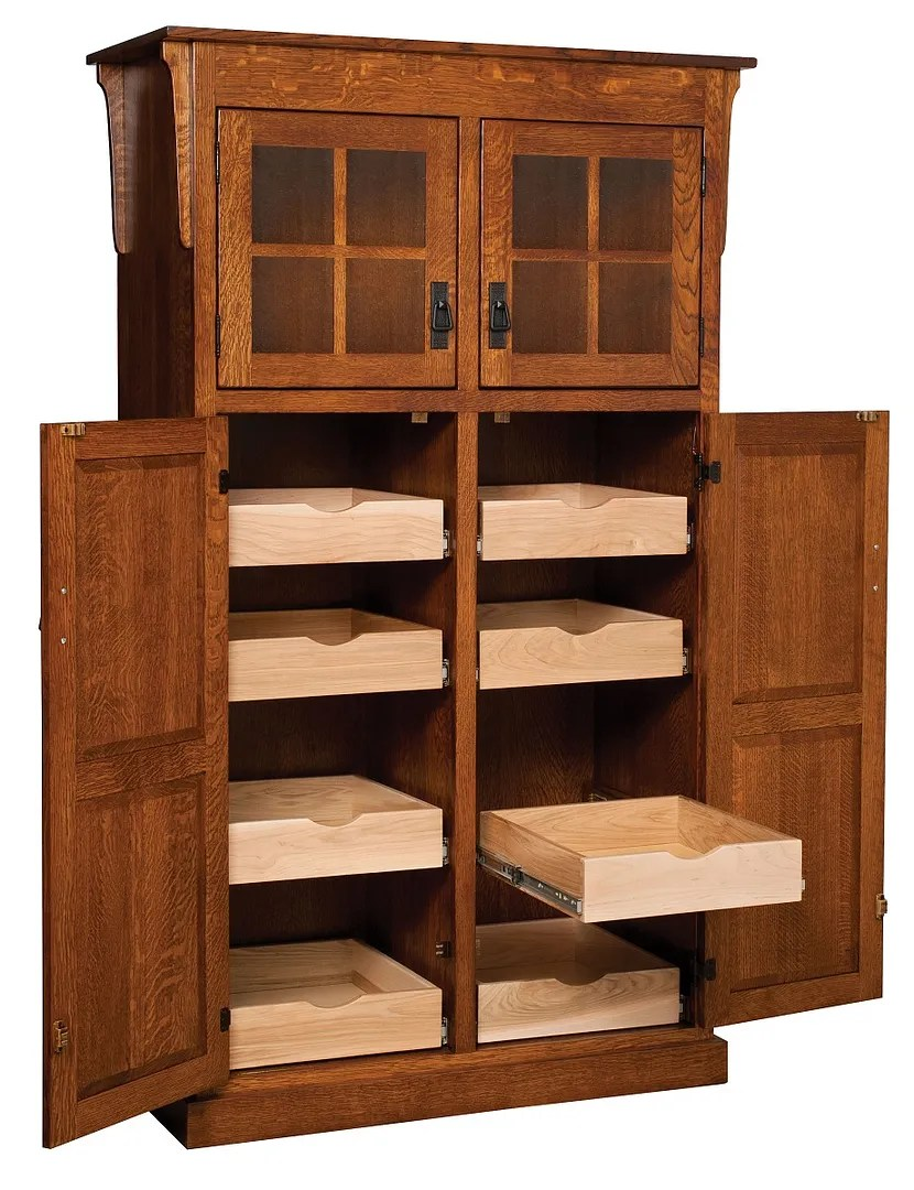 kitchen pantry storage home depot floor tiles amish mission rustic cupboard roll shelf details about heritage wood