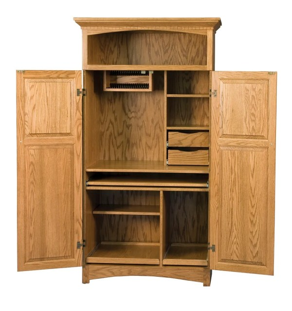 Solid Wood Computer Armoire Desk