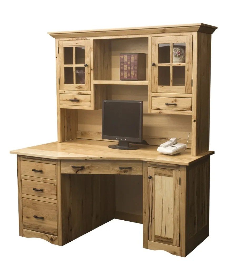 Amish Rustic Mission Wedge Computer Desk Hutch CPU Cabinet