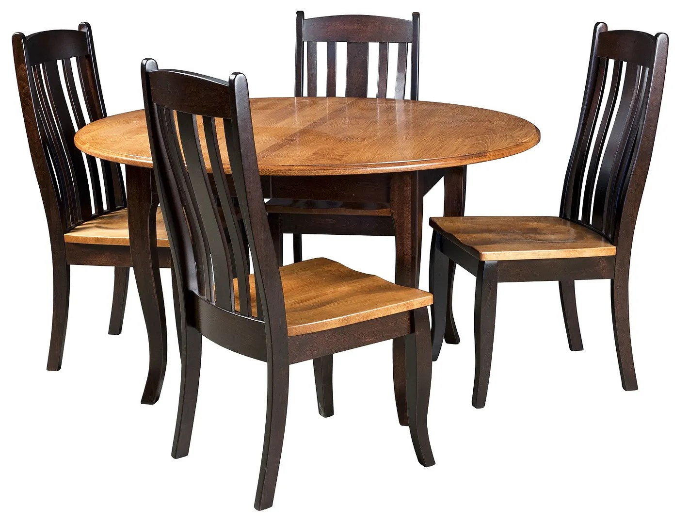 Country Dining Chairs Amish Round Dining Table Chairs Set Solid Wood Leg 2 Tone