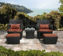 Outdoor Wicker Patio Balencia Bistro Set Chairs & Ottomans
