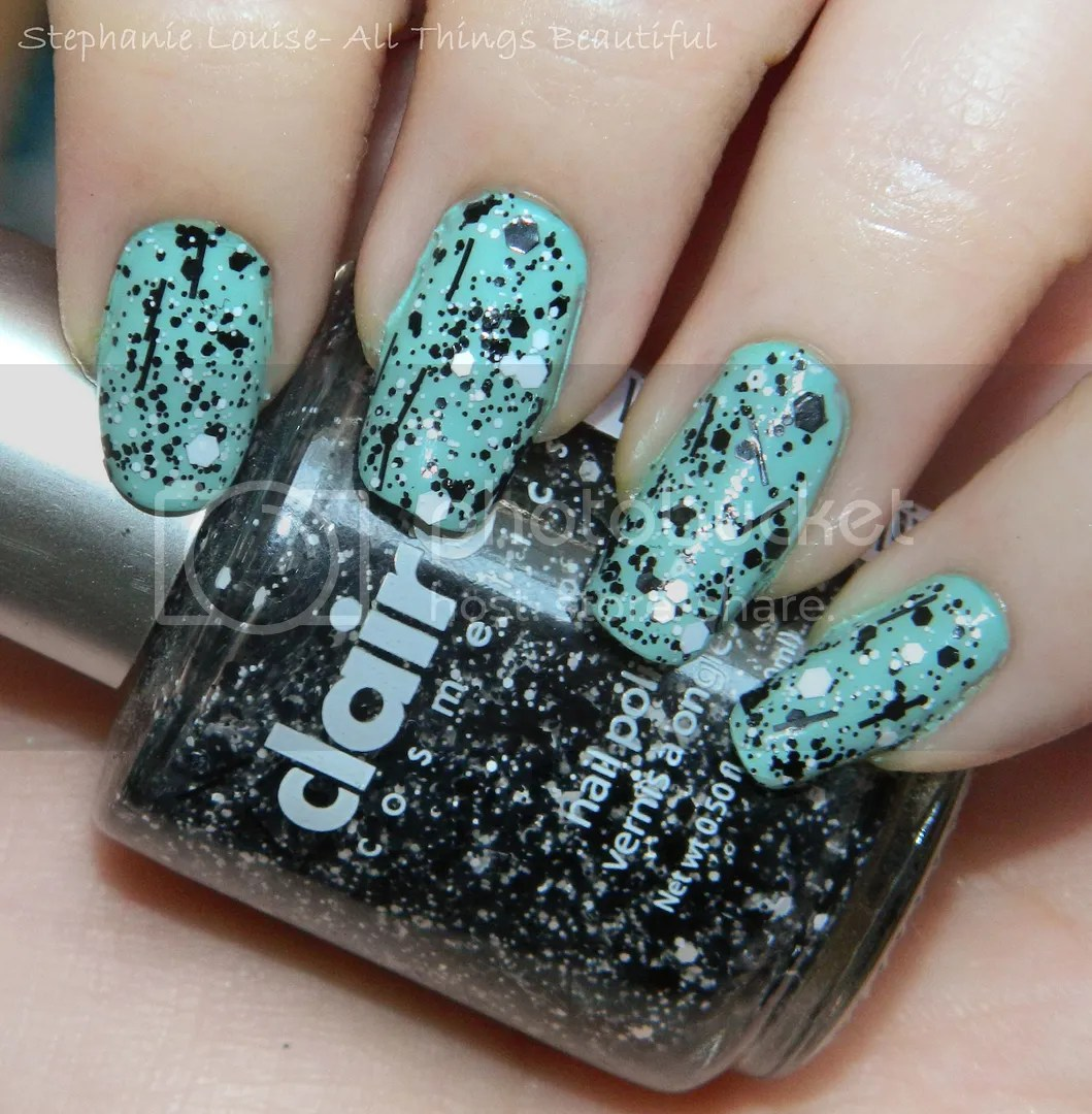 Claire\'s Splatter Black and White Nail Polish Over Butter London\'s ...