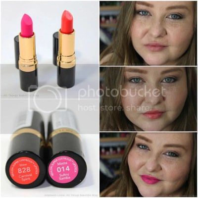 Revlon Spring 2014 Limited Edition Lipsticks in 828 Shine Carnival Spirit 014 Matte Sultry Samba Swatches Review Lip Swatches Pretty Drugstore