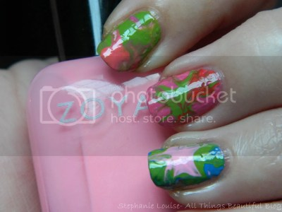 Zoya Summer Tie Dye Water Marble Nail Art from Stephanie Louise- All Things Beautiful