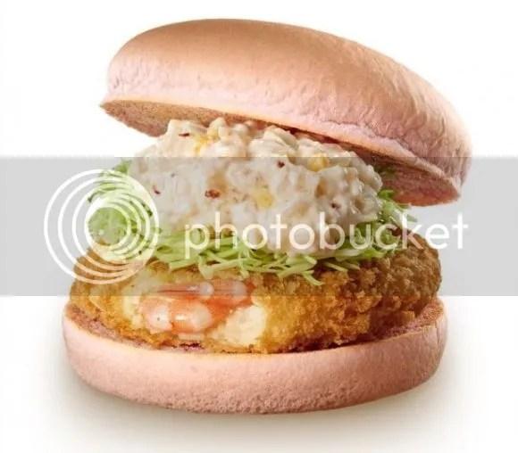 Productos sakura 2017: Sakura Ebi Tartar Prawn Burger (桜エビタルタルのエビバーガー) de Lotteria