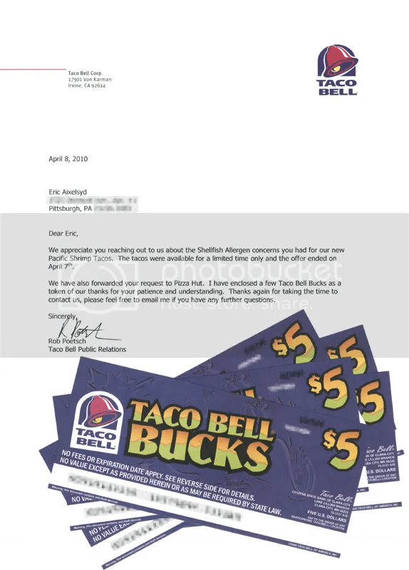 Letter form Taco Bell about Shrimp Tacos and Taco Bell Bucks!