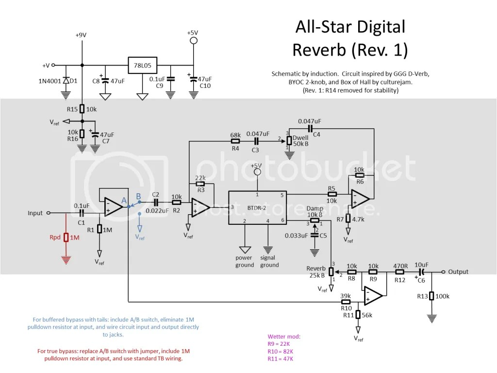 hight resolution of it requires a 3pdt footswitch and a spdt on on toggle in bypass the output jack is switchable between the circuit output and