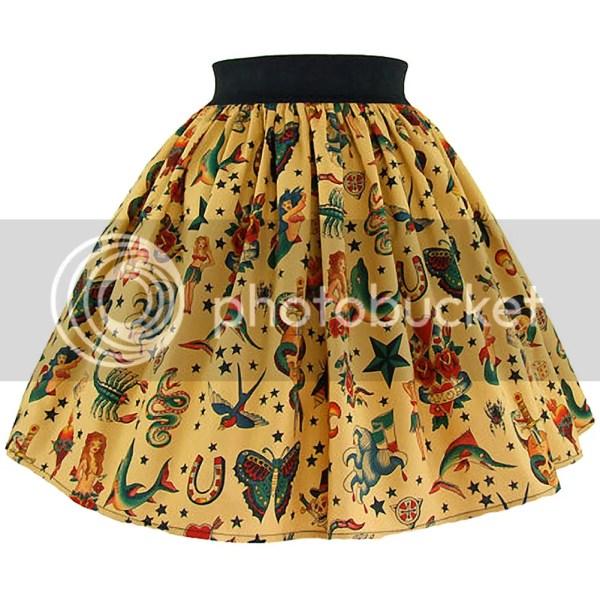 Women' Hemet Pinup Tattoo Art Skirt Traditional Flash