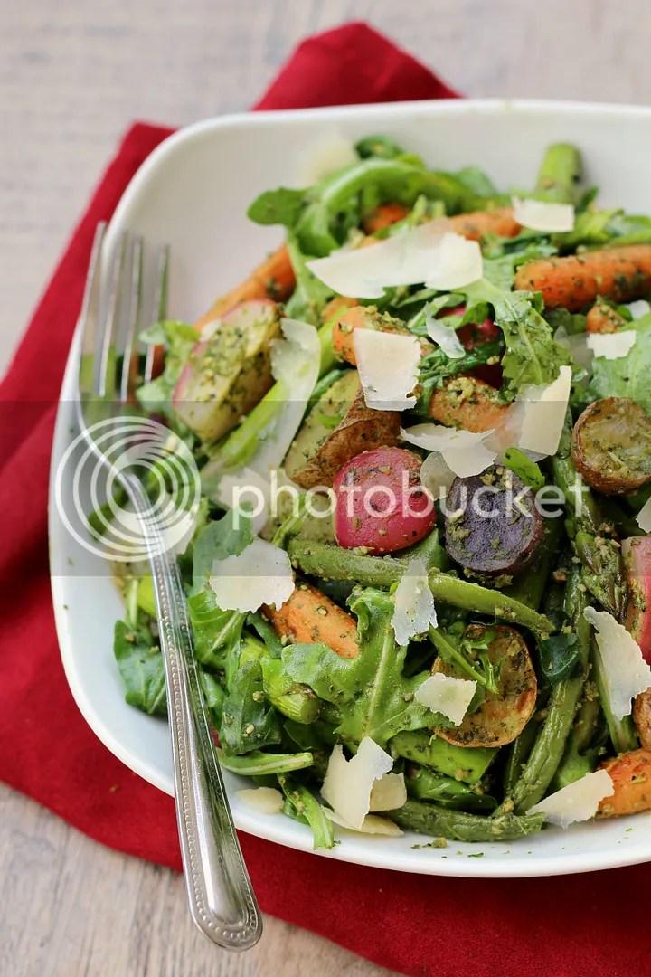 Roasted Spring Vegetable Arugula Salad with Arugula Pesto Vinaigrette - healthy and light Spring meal!