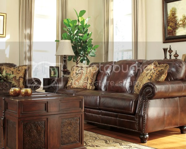 Ashley Traditional Genuine Leather Brown Couch Sofa