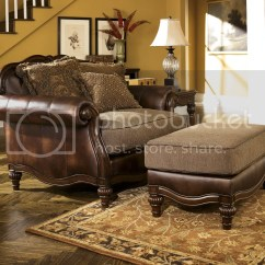 Faux Leather Chair And A Half Foldable Aluminum Sports New Ashley Old World Antique Traditional
